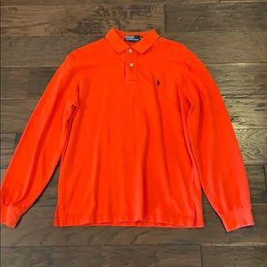 Dark orange long sleeve polo